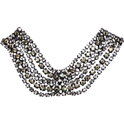 Beautiful 6-strand Rhinestone Double Brooch / Collar Pin / Sweater Guard