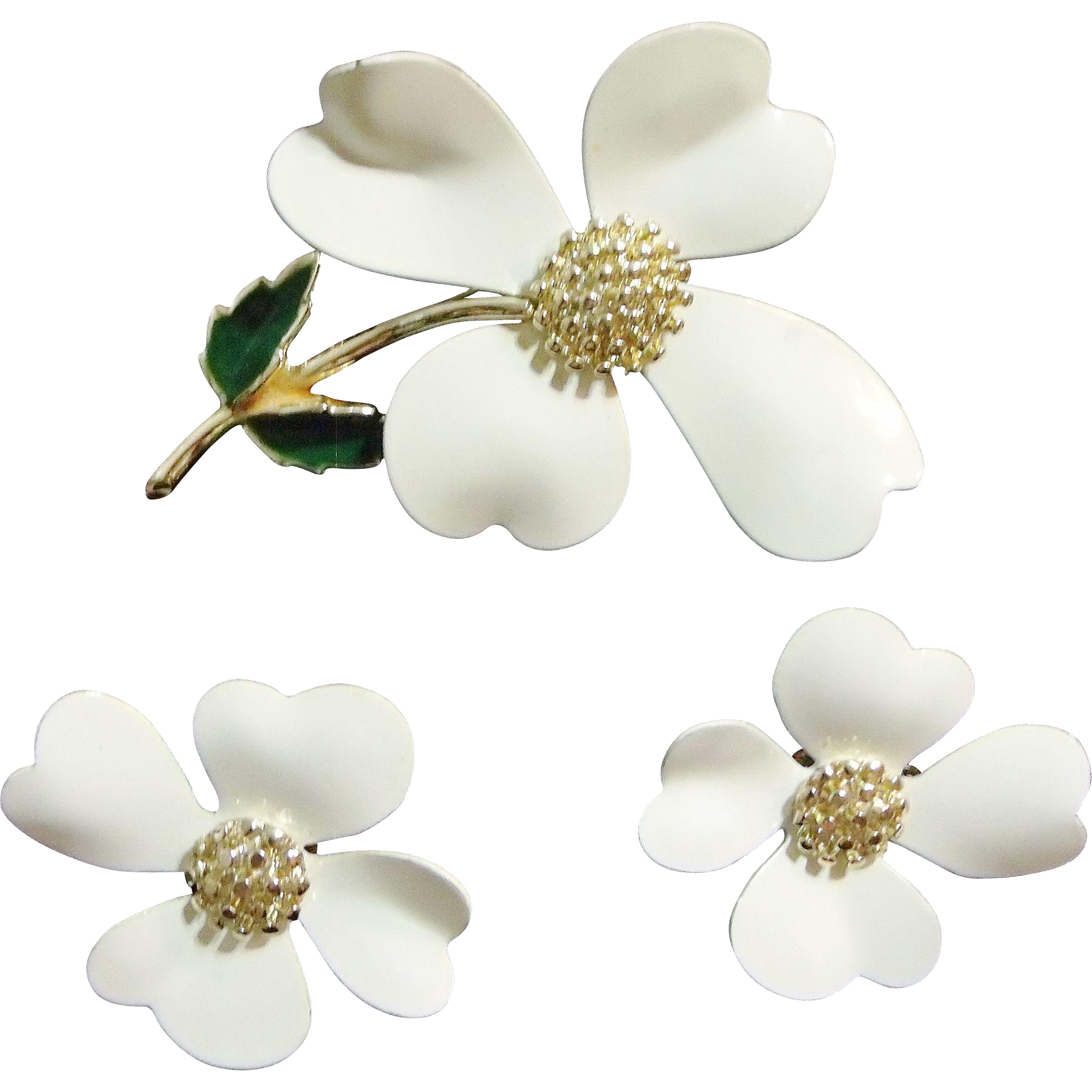Sarah Coventry Enameled White Earrings / Pin Set Gold Tone