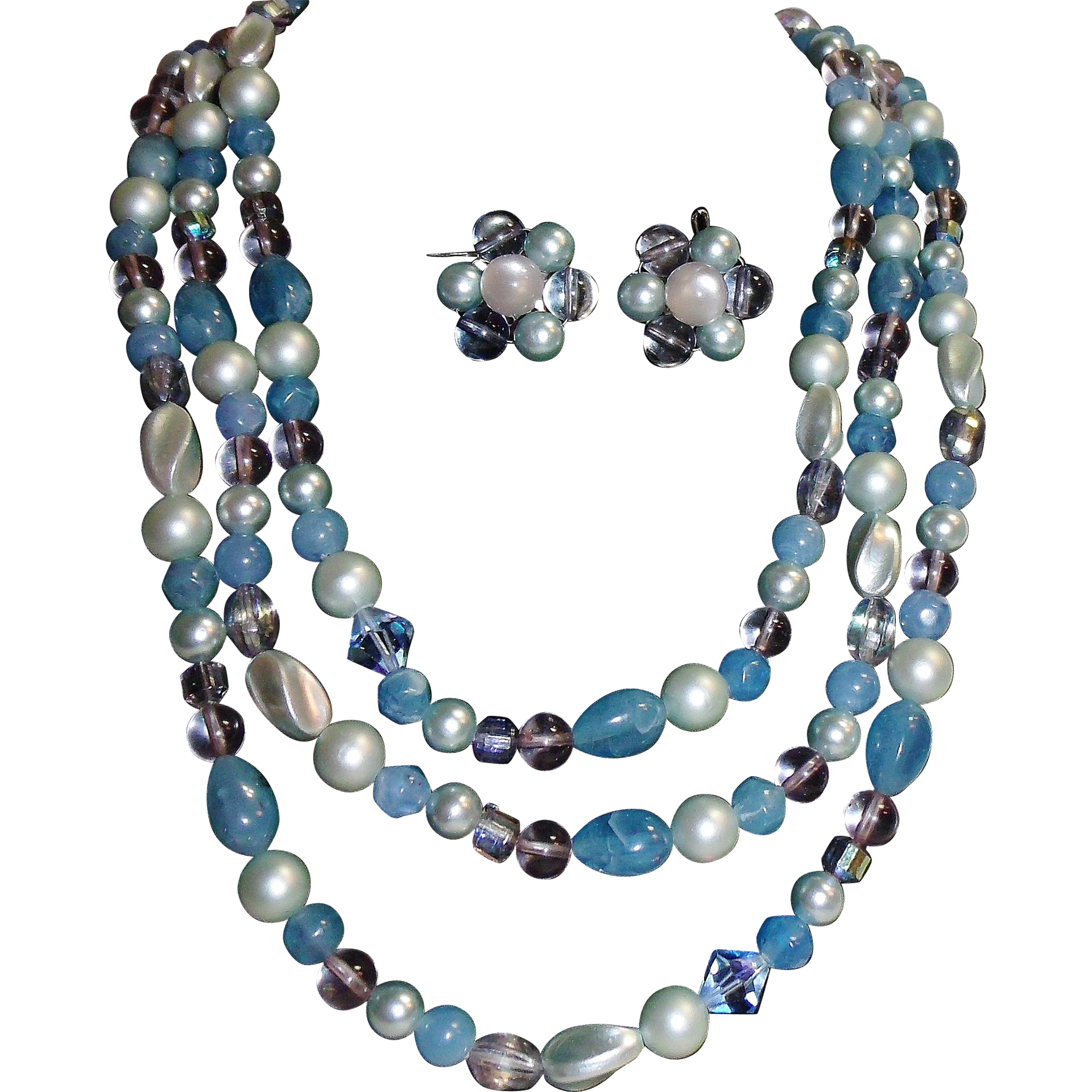 "Gorgeous 60"" Necklace w/ Earrings Set Lucite Blue & Bluish Faux Pearl"