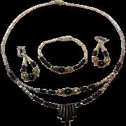 Onyx & Silver-tone Southwestern Native American Parure Necklace Earrings Bracelet Set