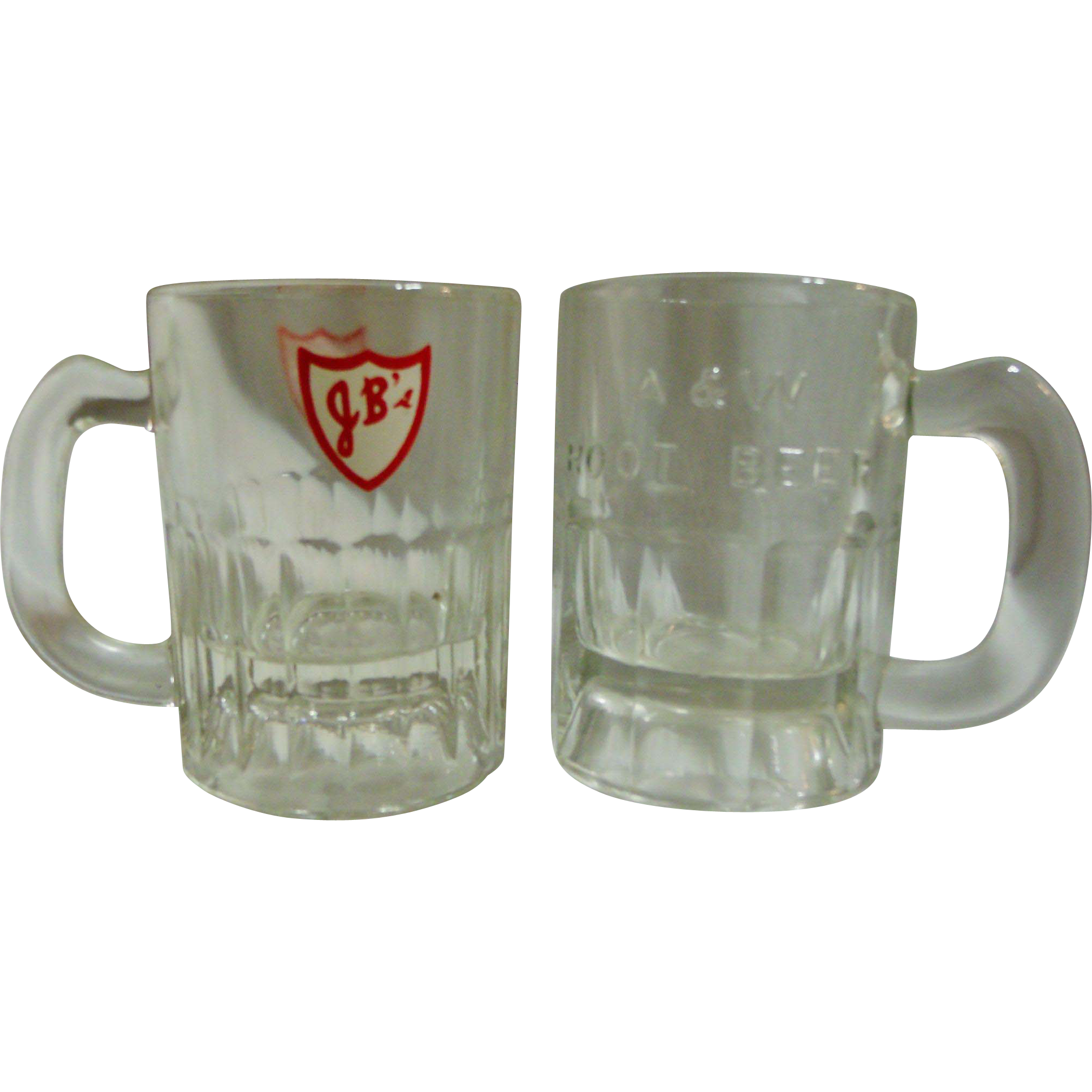 "Vintage Glass ""Baby Mugs"" A&W & JB's Drive-In Root beer Mugs"