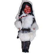 Inuit Eskimo Souvenir Doll w/ Real Fur & Infant / Cradle board
