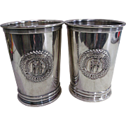 2 Honorable Order of Kentucky Colonels Silver Plate Mint Julep Cup / Tumbler 1979