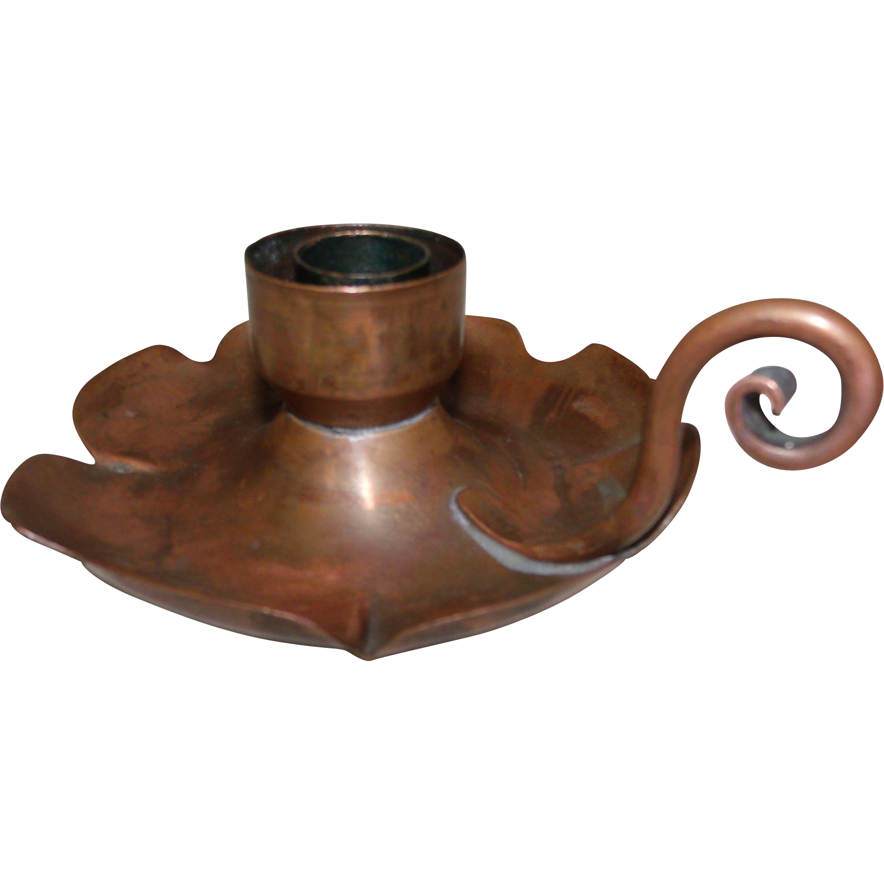 Beautiful Old Copper Chamber stick Taper Candle Holder Arts & Crafts