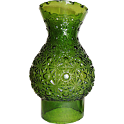 Vintage Green Glass Daisy and Button Oil Lamp Chimney Shade  L E Smith