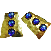 Modernist Earrings Gold Tone & Blue Etched Signature