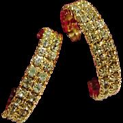 Glistening Rhinestone encrusted Gold-tone hoops Nolan Miller