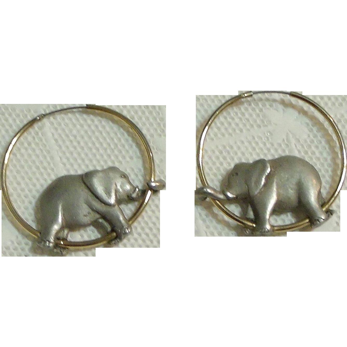 Pewter Elephant on Gold (tone) Hoop Earrings