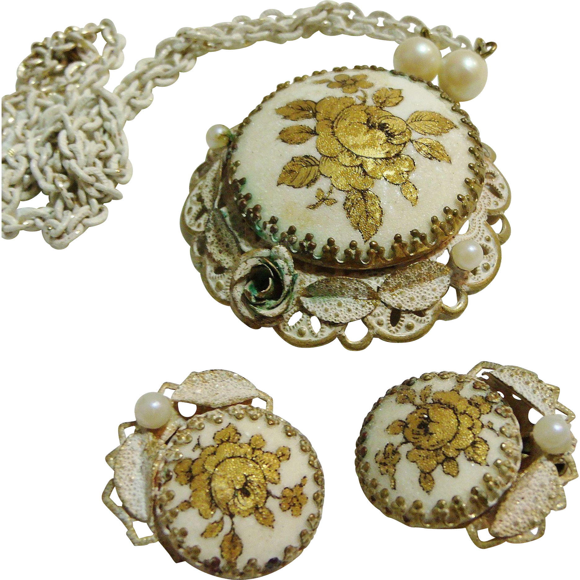Gold Roses Sugared Cabochons Enameled/Antiqued Necklace & Earrings Set W. Germany