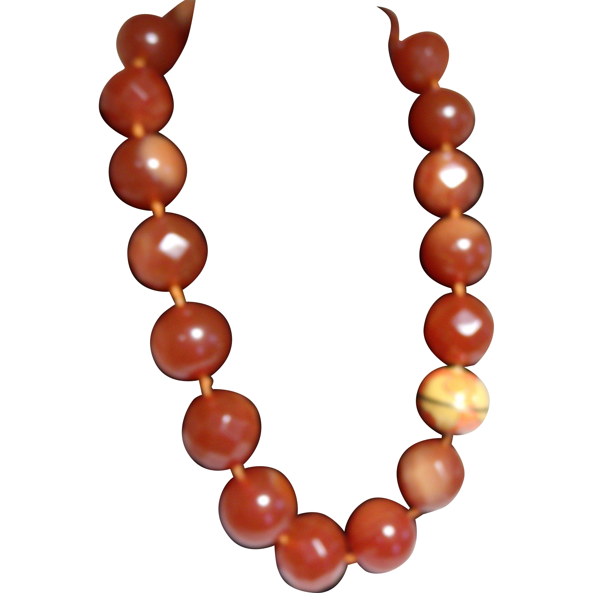 Amber / Caramel Swirled Big Bead Necklace Huge Bold Large Chunky Runway