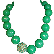 Green Big Bead Necklace / Choker Bold Large Chunky Runway