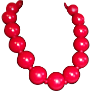 Big Red Ball Necklace / Choker Acrylic Chunky Bold Runway