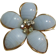 Vintage White Art Glass Flower Pin w/ Rhinestones