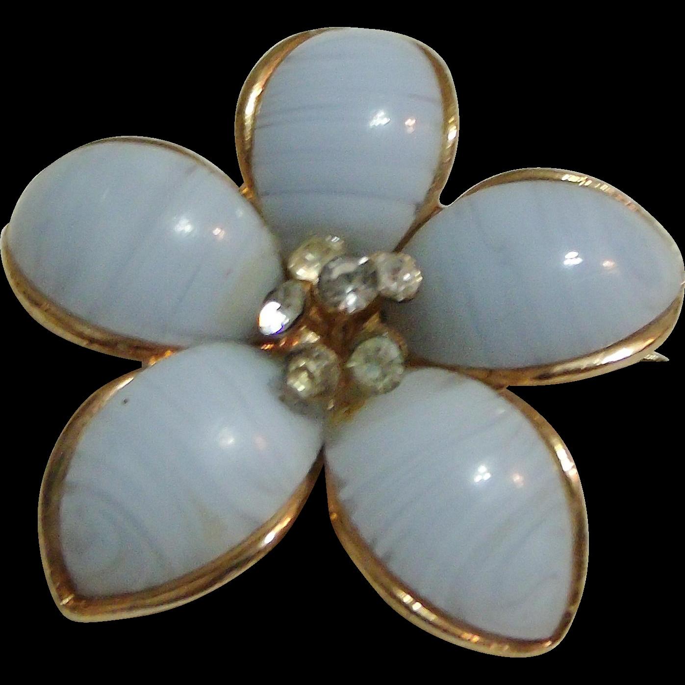 Vintage White Art Glass Flower Pin w/ Rhinestones