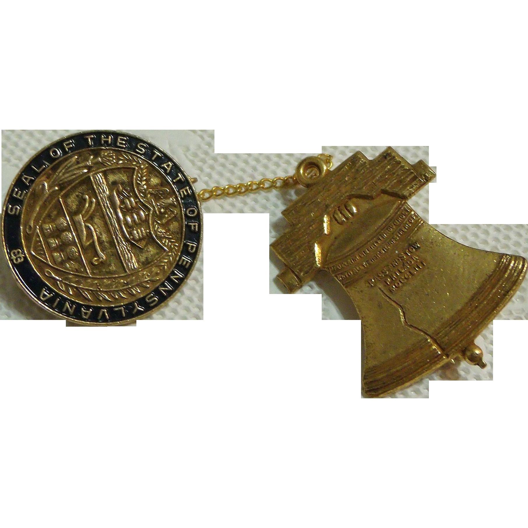 Pennsylvania State Seal & Liberty Bell Souvenir Pin Philadelphia Badge Co