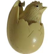 Razza Vintage Hatching Chick in Egg Celluloid Necklace Easter
