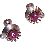 Pink Rhinestone Screw-back Vintage Earrings signed Nemo