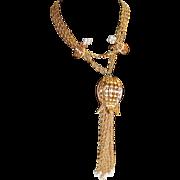 Long Pierced Tulip w/ Tassel / Fringes Necklace Earrings Faux Pearl