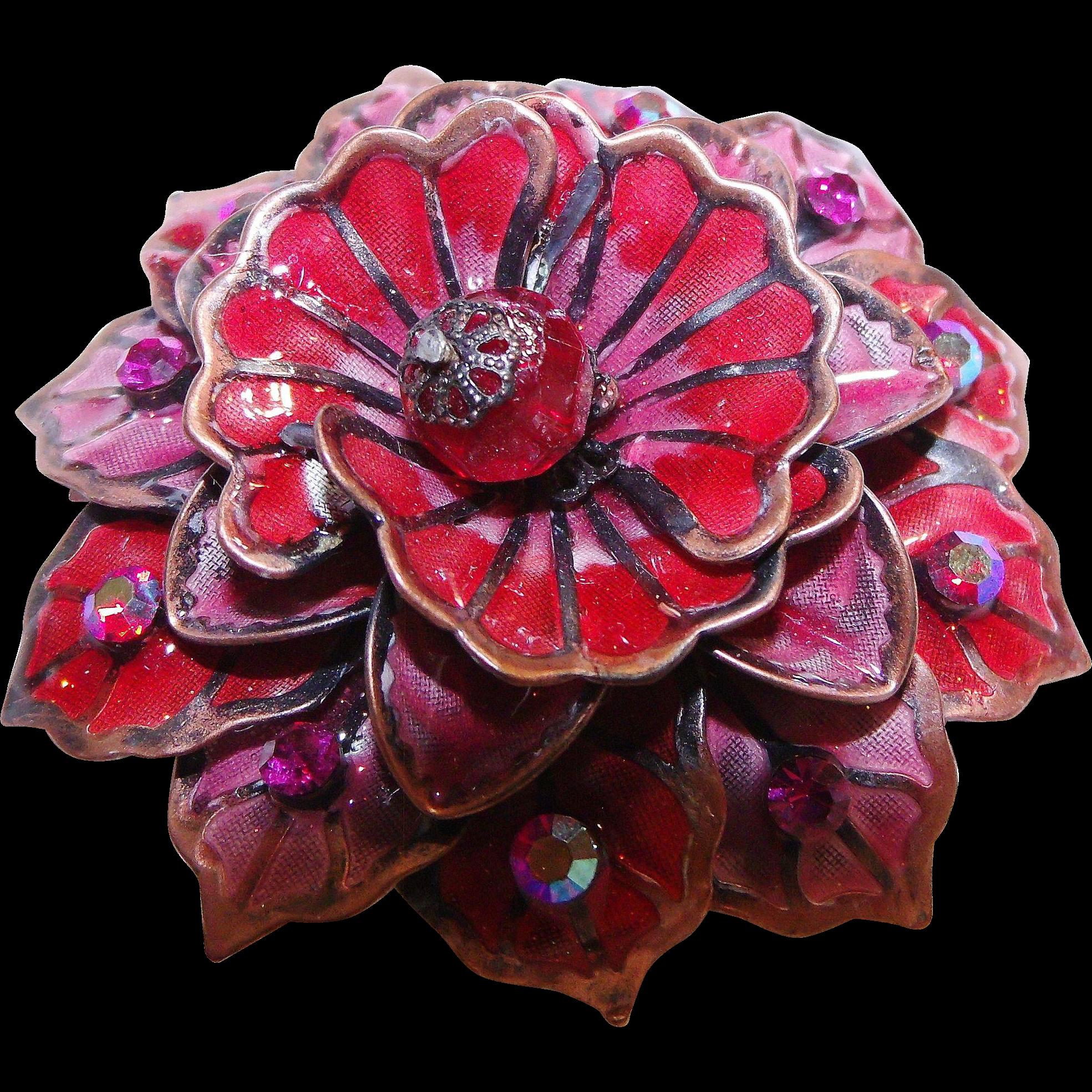 Fantastic Copper Enameled Flower Pin Pinks/Reds Aurora Borealis