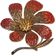 Orange / Gold tone Enameled Flower Pin Cloisonne 1970's JJ mark Jonette Jewelry