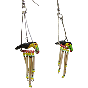 Fun Parrot on a Swing Earrings made of Porcupine Quills Vintage