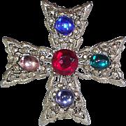 Gold Tone Celtic Cross Pin w/ Multi Color Cabochon
