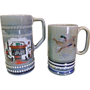 "2 Wade Irish Porcelain Musical / Music Box Mugs ""When Irish Eyes are Smiling"""