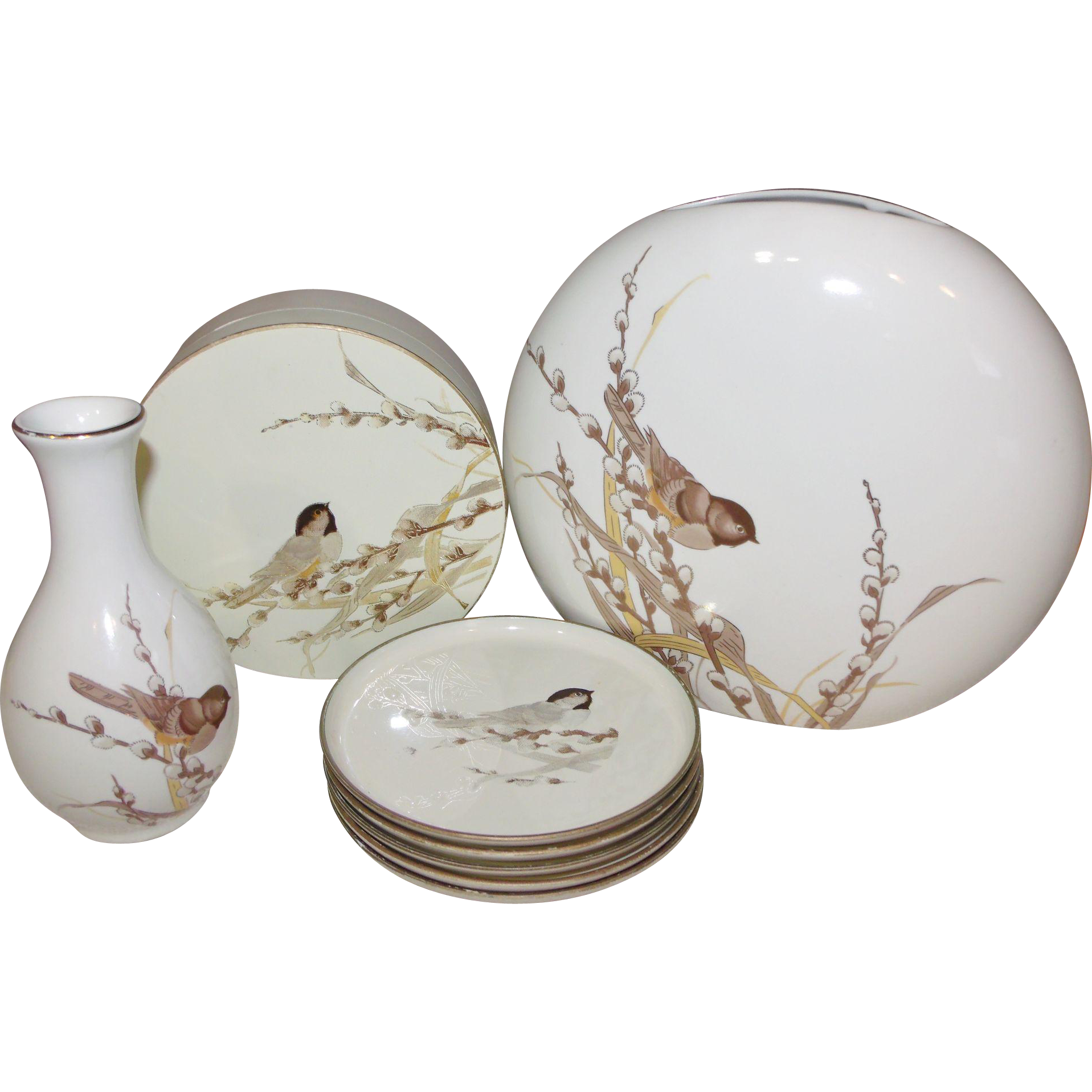 Otagiri Bird On Pussy-willows Lacquerware Coasters & Porcelain Vases