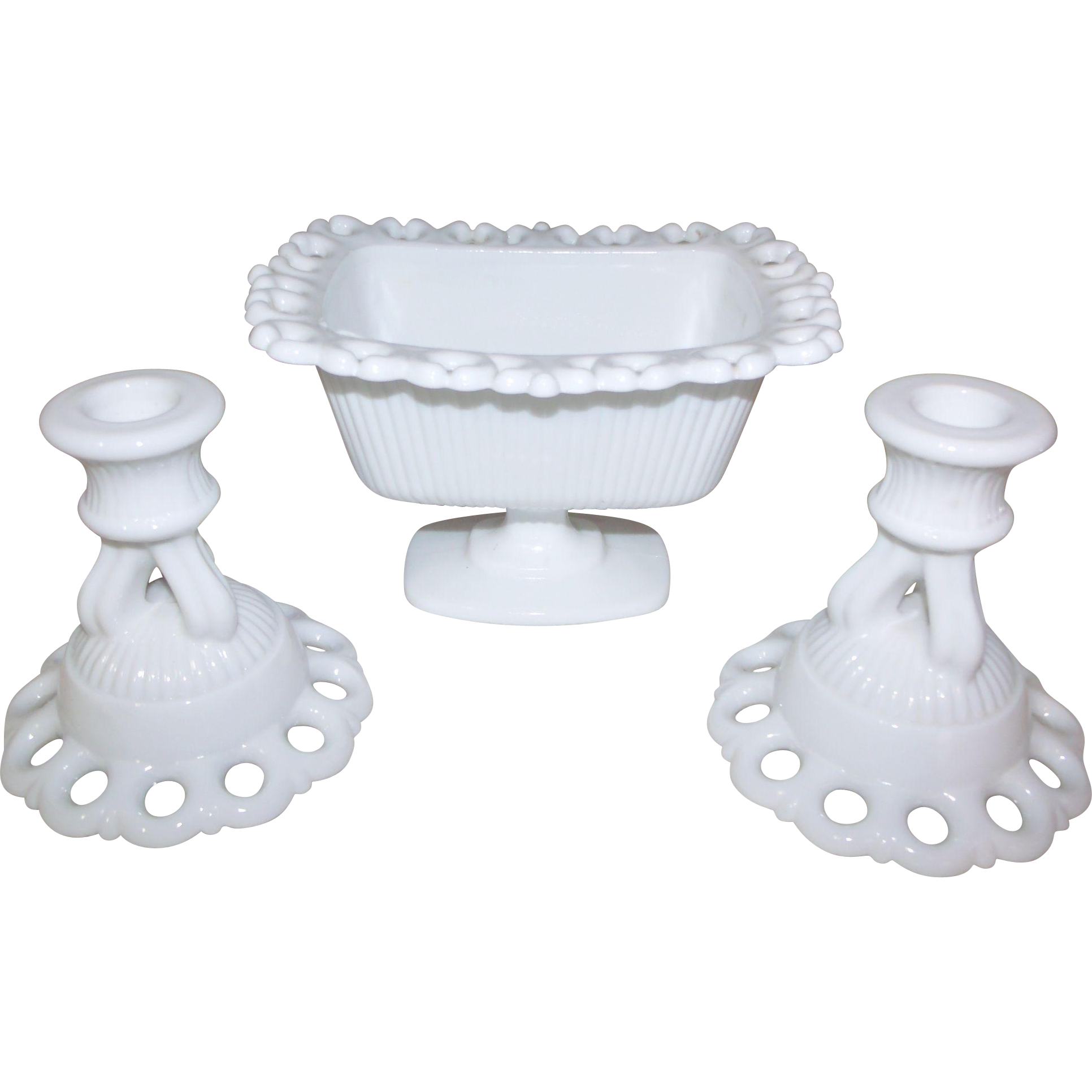 Westmoreland Milk Glass Doric Open Lace Candlestick Candle Holder & Compote