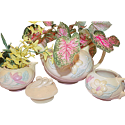Perfect Planter Pieces! Hull Magnolia Teapot, Sugar & Creamer Pink/Yellow