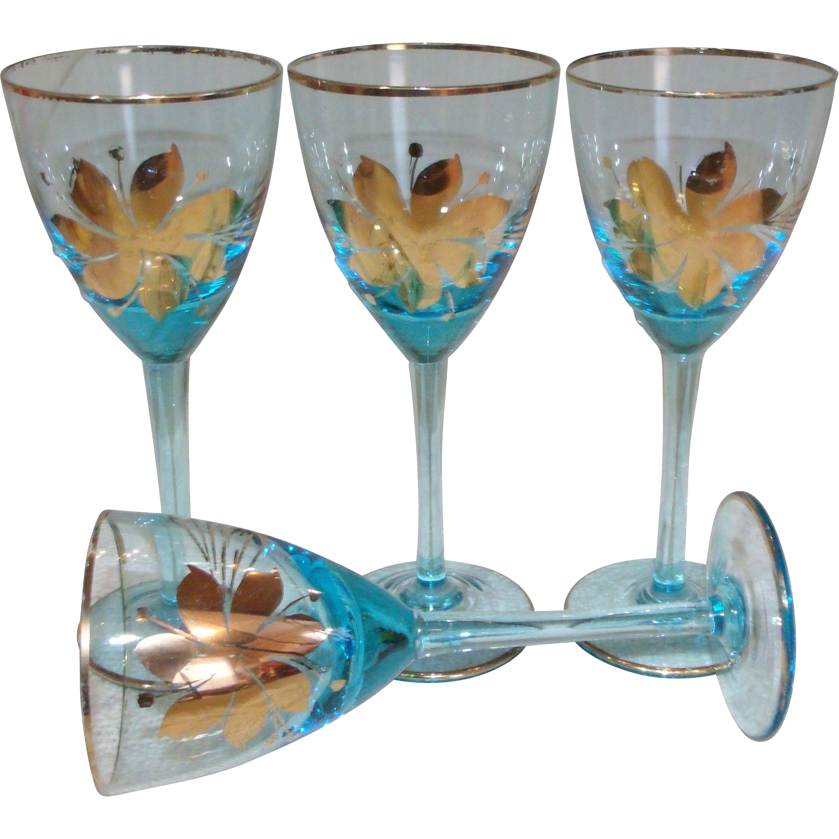 Mid Century Venetian Murano Blue Art Glass/Gold Trim Wine Goblet Set