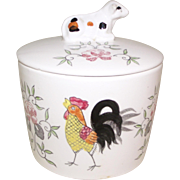 Vintage Rooster Grease Jar / Canister w/ Cow Lid Made in Japan Ceramic
