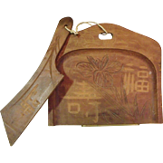 Vintage Japanese Wood Hand Carved Dust/Crumb Pan Silent Butler