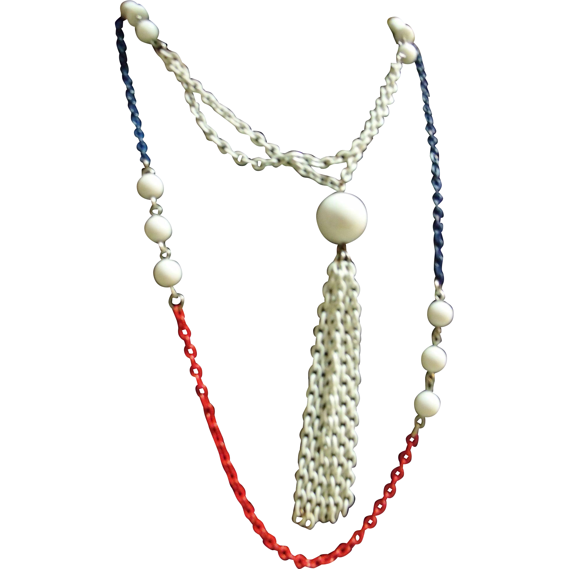 Red White & Blue Necklace Vintage Enameled Chains w/Tassel