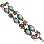 Silver-tone Chunky Bracelet w/ Turquoise (color) Cabochons