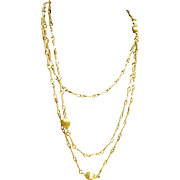 "54"" Monet Opera Length Chain Necklace Twisted Wire Links Beaded"