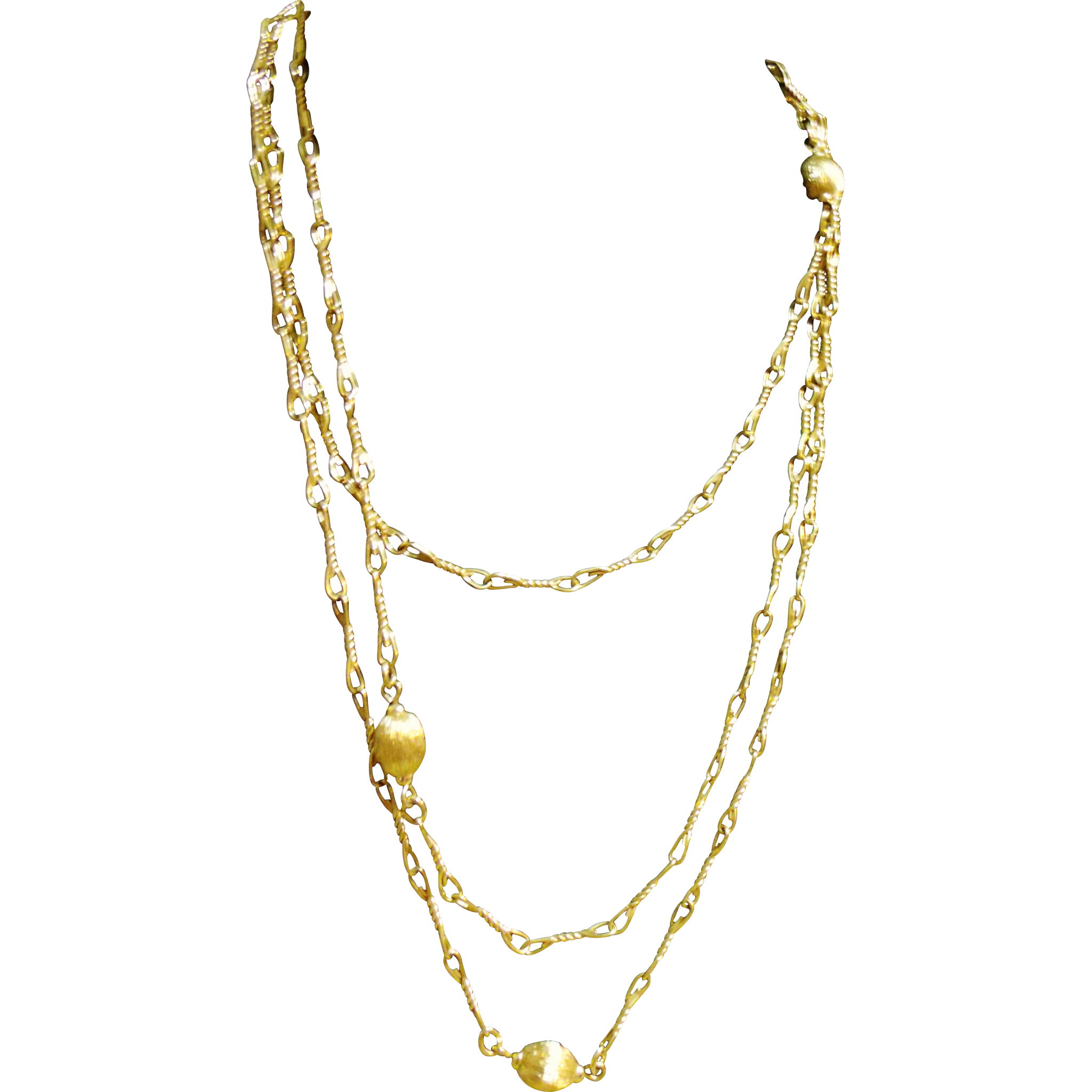 """54"""" Monet Opera Length Chain Necklace Twisted Wire Links Beaded"""