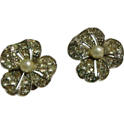 Bogoff Signed Rhinestone & (Faux) Pearl Flower Earrings