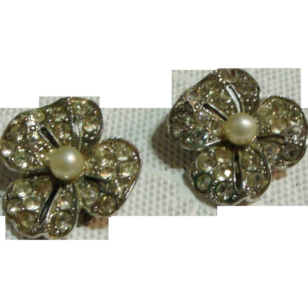 Bogoff Signed Rhinestone & (Faux) Pearl Flower Earrings