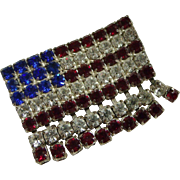 Unique Rhinestone American Flag Pin Eye Catching Motion
