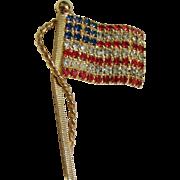 Vintage Rhinestone Waving Flag Pin Gold-tone Rope/Pole