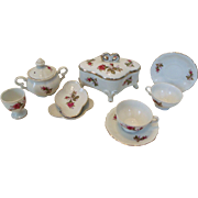 Collection of Lipper & Mann Pompadour/ Moss Rose Trinket Box Egg Cup +