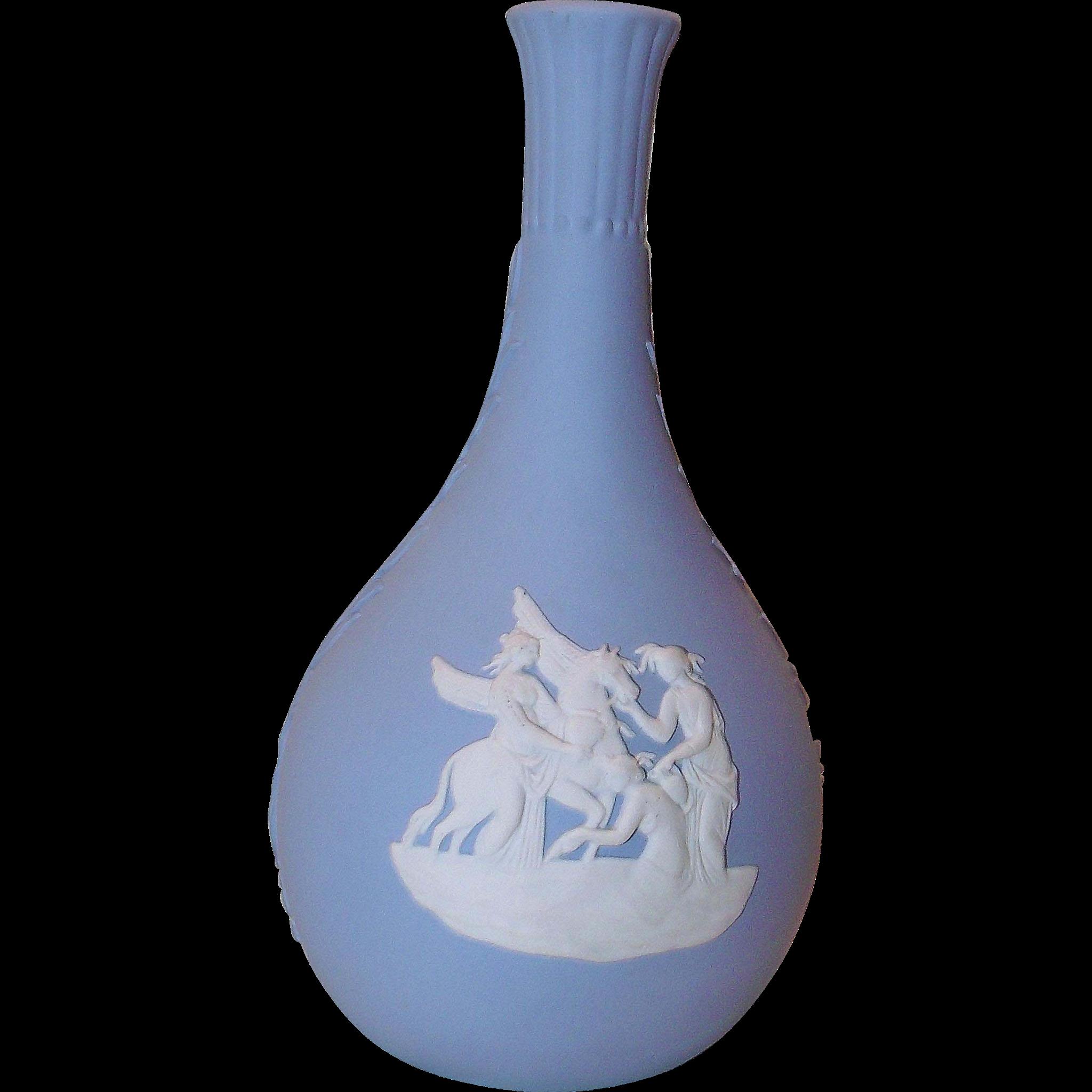 Blue Bud Vase Wedgwood Jasperware w/ Pegasus
