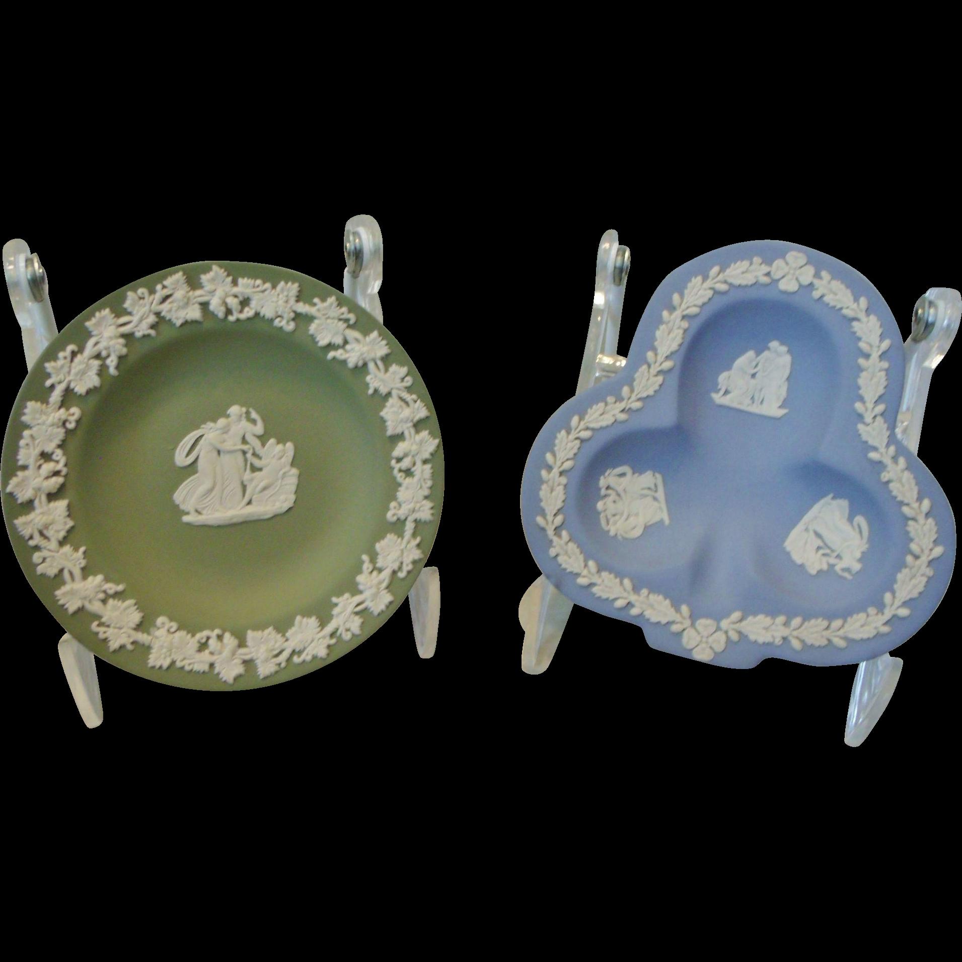 Two Wedgwood Jasperware Dishes Green Trinket Blue Bridge Club