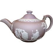Antique Wedgwood Purple Teapot w/ Staple Repair c1891-1908