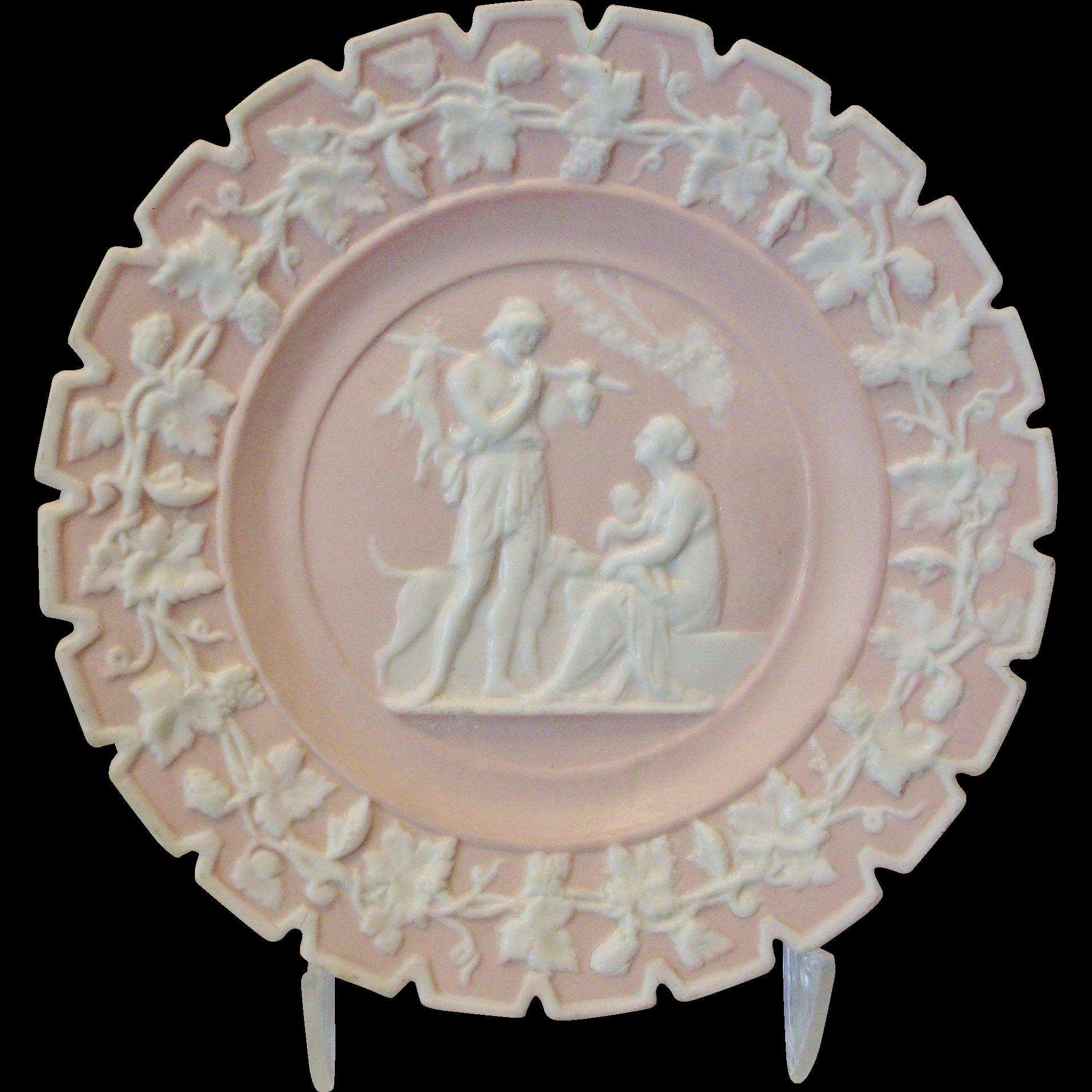 Pink Jasper Ware Plate Unique Image Suckling Child/Hunt Scene