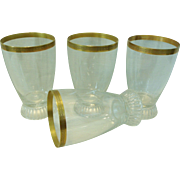 Set of 4 Glass Tumblers Gold Encrusted Rims w/ Triangles/Arrows Vintage
