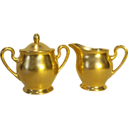 Pickard Rose & Daisy 532 Creamer & Sugar Set Gold