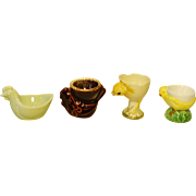 Collection of 4 Figural Egg Cups Chicks / Chicken Rooster Theme