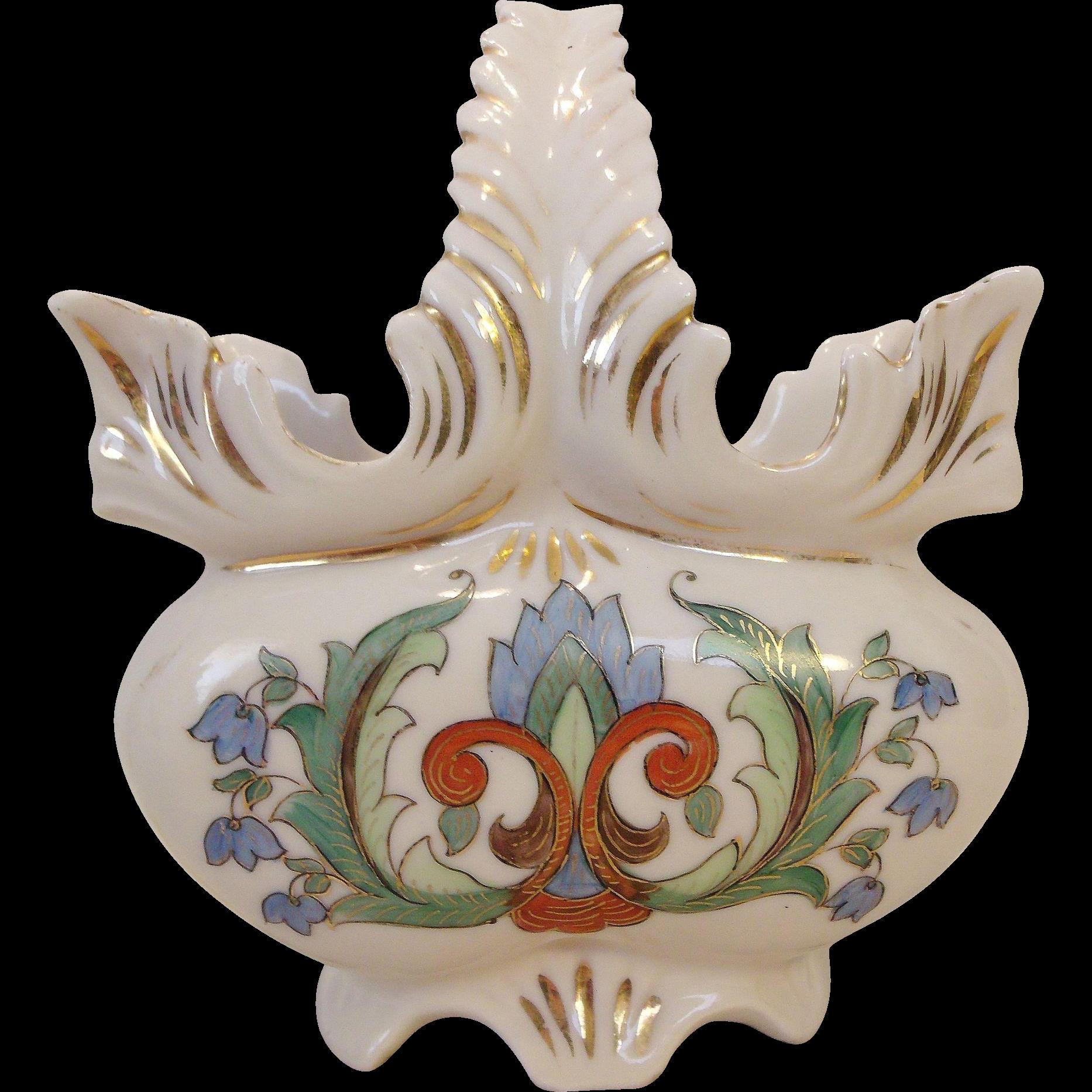 Fantastic Old Creamware Basket Hand Painted Beauty